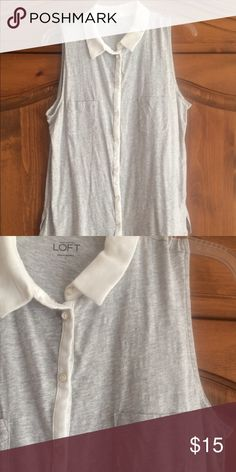 LOFT GRAY AND WHITE KNIT BUTTOM DOWN TOP GRAY KNIT WITH WHITE TRIM TOP. GOOD STAPLE TO WARDROBE LOFT Tops Blouses