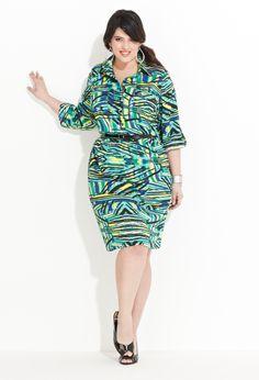 Printed Shirt Dress with Belt   Plus Size Work Dresses   Avenue