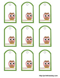Free Printable Owl Gift Tags Templates in pink or blue or green (o▼o) These match the gift box I previously pinned.