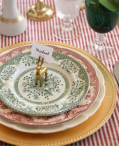 Vintage green and red plates