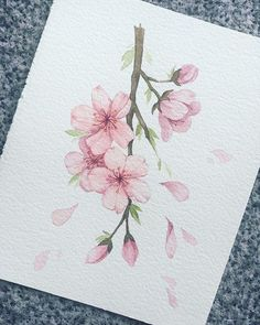 Watercolor Painting Techniques, Painting & Drawing, Watercolor Paintings, Watercolor Cards, Watercolor Flowers, Flor Oriental Tattoo, Art Sketches, Art Drawings, Flower Art Drawing