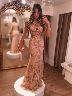 Sheath Jewel 3 4 Sleeves Champagne Tulle Prom Dress with Beading Appliques Elegant Dresses, Pretty Dresses, Sexy Dresses, Fashion Dresses, Prom Dresses, Tailored Dresses, Tulle Prom Dress, Party Dress, Gold Dress