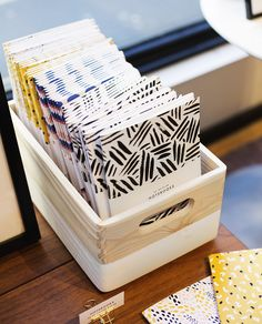 Use Michaels wood crates dipped in watered down white paint to make chick storage boxes. Inspired by west elm west elm pop up shop | the lovely drawer notebooks