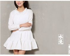 Spring Long Sleeve Preppy White Cotton Dress Vestido De Festa Roupas Gothic Tunique Femme Lolita Mori Girl Crochet Ropa Mujer