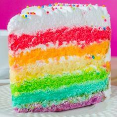 Rainbow Vanilla Cake Recipe