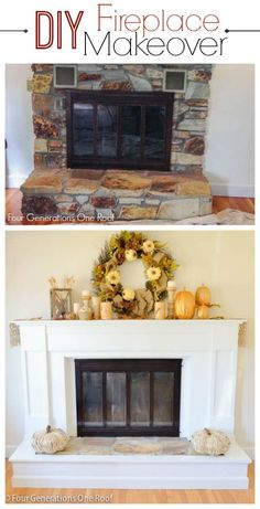 DIY Reveal: Our DIY fireplace makeover is finally finished. A tutorial on how we updated our outdated 1970's fireplace. Four Generations One Roof #DIY #Makeover #homeimprovement