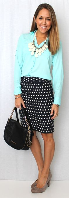 Navy polka dot skirt, blue button down & grey sweater