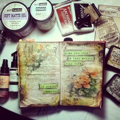 "art journal inspiration ... ""Marta Lapkowska: My desk and my art journal pages"""