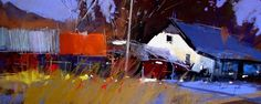Tony Allain  SUNLIGHT, FARMYARD pastel on sanded paper, 8 x 24in.