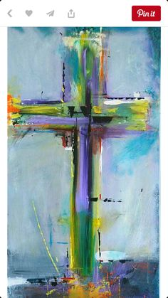 Prophetic Art painting of Cross, abstract art, palette knife, rainbow colors. Please also visit www.JustForYouPropheticArt.com for colorful inspirational Prophetic Art and stories. Thank you so much! Blessings!