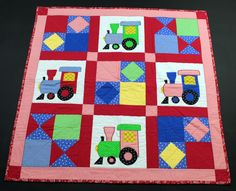 Handmade Baby Quilt Crib Blanket Choo Choo Train Theme Patchwork #TheGracefulStitchers