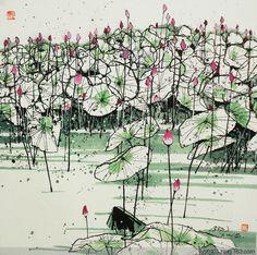 Japanese Painting, Chinese Painting, Chinese Contemporary Art, Lotus Art, Chinese Brush, China Art, Abstract Drawings, Watercolor Bird, Art Pictures