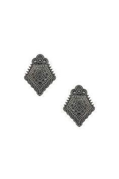 Engraved Pentagon Earrings