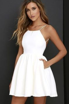 Cute White Halter Homecoming Dress,Mini Short Prom Dress,Sleeveless Homecoming Dress with Pockets - Prom Dresses Design Sexy Homecoming Dresses, Hoco Dresses, Trendy Dresses, Sexy Dresses, Dress Outfits, Evening Dresses, Graduation Dresses, Fitted Dresses, Party Dresses