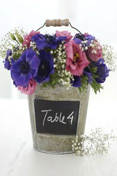 Chalkboard Bucket Table Number #timelesstreasure