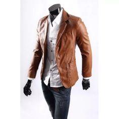 Fashion men's Big size Leather jacket for men casaul slim pu leather Suit Jackets waterproof Blazer coats Asia M - XXXXXXL Blazer Fashion, Leather Fashion, Leather Men, Fashion Outfits, Brown Leather, Coat Sale, Mens Winter Coat, Slim Man, Black And Brown