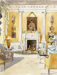 Mita Corsini Bland watercolor of the living room in Evangeline Bruce's town house in London decorated by John Fowler.