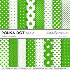 Grass Green POLKA DOT  BASIC Digital Paper Pack  by JAnnBdesigns