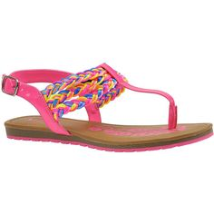 MIA Felicity (Girls' Toddler-Youth) (£16) ❤ liked on Polyvore featuring shoes, sandals, hot pink, woven sandals, hot pink sandals, summer shoes, ankle tie sandals and padded sandals