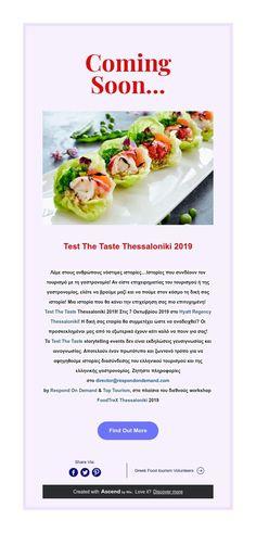 Test The Taste Thessaloniki 2019 Thessaloniki, Coming Soon, Sushi, Vegetables, Travel, Food, Voyage, Meal, Essen