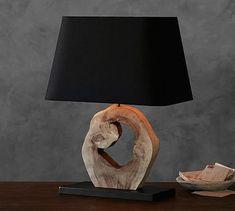 Emmett Reclaimed Wood Slab Lamp #potterybarn