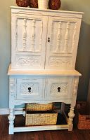 White Painted Cupboard Hutch - $450
