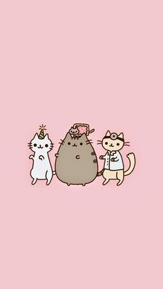 Pusheen wallpaper Kawaii Wallpaper, Iphone Wallpaper, Cover Wallpaper, Cute Wallpaper For Phone, Pink Wallpaper, Computer Wallpaper, Wallpaper Backgrounds, Gato Pusheen, Pusheen Love