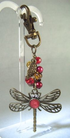 Antique Bronze Beaded and Dragonfly Bag Charm - £4.50 at http://jewellerybyrebecca.co.uk/bag012