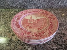 Set of 8 Johnson Brothers (England) Historic America red transfer ware on white…
