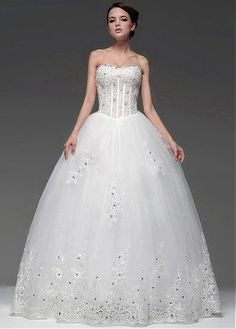 CLASSICAL SATIN TULLE BALL GOWN SWEETHEART NECKLINE BASQUE WAISTLINE WEDDING DRESS FORMAL PROM EVENING PARTY GOWN
