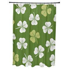 E By Design Lucky Polyester Shower Curtain Dark Green