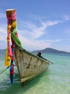 A lonely Long Boat Near Phuket in Thailand