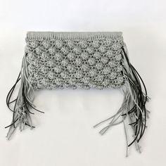 Crochet bag, Handmade fringed crochet clutch, handcrafted  clutch, gift for her, crochet pochette , bobble bag, flap bag, knitted bag, chain