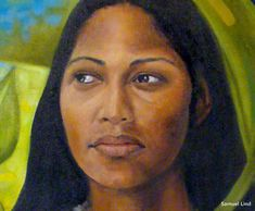 Puerto Rican Slave Women  | Above: Detail of artist Samuel Lind's 'Yuiza' , Indian Cacique Chief.