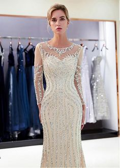 Wedding Dresses Ball Gown, Shining Tulle Jewel Neckline Mermaid Formal Dress With Beadings DressilyMe Long Sleeve Evening Dresses, Mermaid Evening Dresses, Evening Gowns, Sexy Wedding Dresses, Cheap Wedding Dress, Ball Dresses, Ball Gowns, Unconventional Wedding Dress, Party Gowns