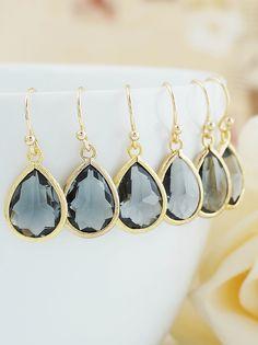 Dark Grey Glass Drop Bridesmaid Earrings from EarringsNation Dark Grey Weddings Grey Weddings Gray Weddings Black Diamond