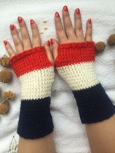 Hand Knitted Fingerless Gloves rednavy bluewhite by PinarKnitting