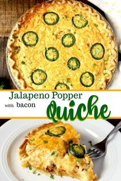 This Jalapeno Popper Quiche Recipe is made easy by using store-bought premade pie crust. Loaded with cream cheese, cheddar and Monterrey Jack cheese, jalapenos and crispy bacon. This easy quiche recip Easy Quiche, Bacon Quiche, Bacon Pie, Frittata, Jalapeno Poppers, Breakfast Casserole Sausage, Bacon Breakfast, Quiche Recipes, Bacon Recipes