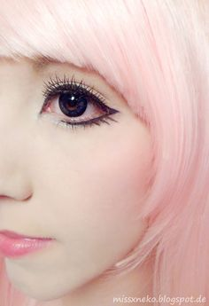 Pastell Goth Make-up - Microblading Anime Eye Makeup, Lolita Makeup, Pastel Goth Makeup, Big Eye Makeup, Makeup Eyes, Kawaii Makeup, Cute Makeup, Beauty Makeup, Hair Makeup