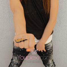 GOLD THUNDER CODE:1.9.16. Handmade lasercut ring with a thunder made of plexiglass, size:4,2x1,8cm.