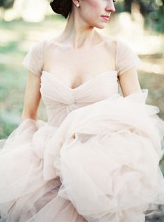 Reem Acra gown | http://burnettsboards.com/2013/11/romantic-pastel-blush-wedding/