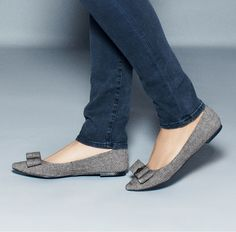 Gray flats with bow