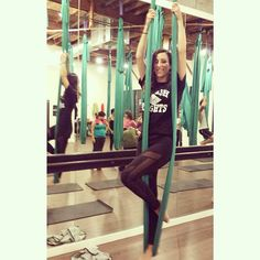 Aerial Yoga with @lenasanvito + @asteriaactive? Yes please!! Work it out babe!  #asteriaactive #aerialyoga #yoga #fitness #fitspo #runinrunway #activewear #legs #netasporter #athleisure #babe