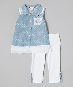 Look what I found on #zulily! Light Blue Button-Up & White Capri Leggings - Toddler by Speechless #zulilyfinds
