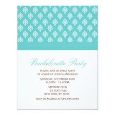 Something Blue Damask Pattern Bachelorette Party Card