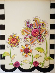 Whimsical flower garden art personalized black white canvas wall hanging tween or nursery decor. $42.00, via Etsy.
