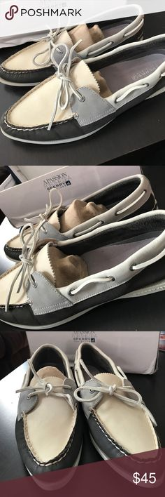 Sperry Top-Sider Charcoal Ivory Boat Shoes 12M NWOT Authentic Sperry Top-Sider Parker Boat shoes. Comfortable Women's size 12M loafers never been worn. Sperry Top-Sider Shoes Flats & Loafers