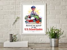 Raised 'em Myself in my US School Garden - Vintage Poster Reproduction - Boy Holding a Basket of Vegetables by AuthenticHeirloomsCo