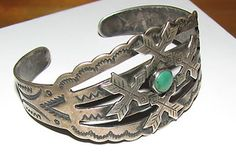 Old Pawn Vintage Navajo Turquoise Sterling Silver Bracelet Jewelry Antique 30'S | eBay