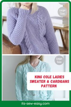 These King Cole ladies sweaters and cardigan knitting patterns are not only about something practical and something you will be happy about but also proving that it's possible to make elegant, wearable and fashionable cardigans right at the comfort of your home. The knitting patterns feature cardigans that come in different colors and different finishes. The patterns cover a variety of sizes including larger sizes. #cardiganpatterns#sweaterpatterns#knittedsweaterpattern#easesweaterpatterns Jumper Patterns, Cardigan Pattern, Sweater Cardigan, Knitting Patterns, Sewing Patterns, Ladies Sweaters, The Cardigans, King Cole, Getting Cozy